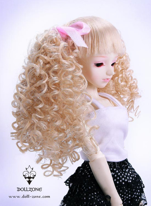 """30961 Dollzone MSD 7""""-8"""" Wig Curly Double Pigtail Blonde"""