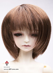 "W45-001 Dollzone MSD 7""-8"" Wig Short Brown"