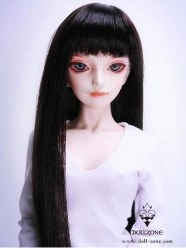 "W60-013 Dollzone SD 8""-9"" Wig Long Dark Brown"