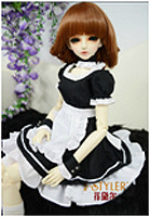 JC030-45 JC 1/4th Scale Black and White Maid Uniform for 44-46cm Doll