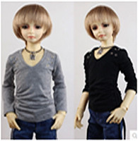 JC044BLK-60 JC 1/3rd Scale Black Long Sleeve T-Shirt for 60cm Doll .  Shown here in Grey on left and Black on right.