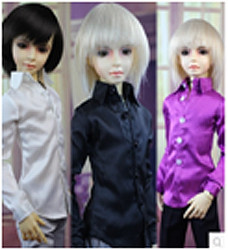 JC054WHT-60 JC 1/3rd Scale White Suit Shirt for 60cm Doll.  Shown here in White on left, Black in middle, Purple on right.