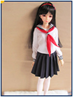 JC014WB-60 JC 1/3rd Scale White and Blue Sailor School Outfit for 60cm Doll