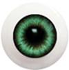 8LD06 8mm Full Round Acrylic Eyes - Dark Green Gray