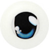 20CA01 20mm Half Round Acrylic Character Eyes - Chara Oval Blue