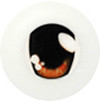 20CA03 20mm Half Round Acrylic Character Eyes - Chara Oval Orange