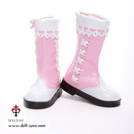 0611 Dollzone MSD Slip-on Boots Pink and White