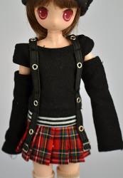 CL23191 Parabox Black and Red Plaid Outfit for Obitsu 21cm-23cm Doll