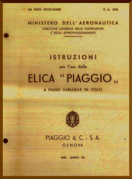 Piaggio Aircraft Propeller Instruction Manual - Elica - CA 503