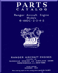 Ranger 6-440 C -2 -3 -4 -5   Aircraft Engine  Parts Catalog Manual  ( English Language )
