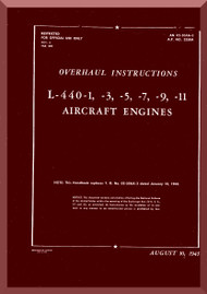 Ranger L-440 C -1 -3 -5  -7 -9 -11 Aircraft Engine  Overhaul Manual  ( English Language )