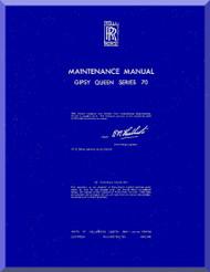De Havilland  Gipsy Queen 70 Aircraft Maintenance Manual  ( English Language )