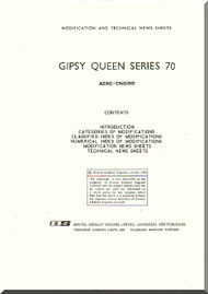 De Havilland  Gipsy Queen 70 Aircraft Modification and Technical News Sheets Manual  ( English Language )