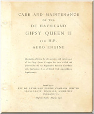 De Havilland  Gipsy Queen II 210 H.P. Aircraft Maintenance Manual  ( English Language )