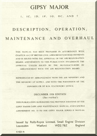 De Havilland Gipsy  Major 1 to 7 Aircraft Engine Maintenance and Overhaul Manual  ( English Language )