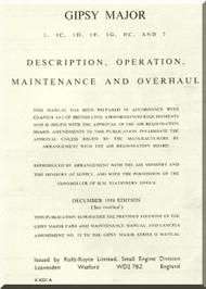 De Havilland Gipsy  Major 1 to 7 Aircraft Engine Maintenance and Overhaul Manual  ( English Language )