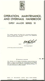 De Havilland  Gipsy Major 10 Aircraft Maintenance and Overhaul  Manual  ( English Language )