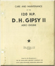 De Havilland  Gipsy II  Aircraft Engine Care and  Maintenance Manual  ( English Language )