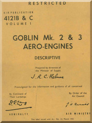 De Havilland Goblin Mk. 2 & 3 Aircraft Engines Descriptive Manual - 4121 B & C  Volume 1