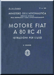 FIAT Motori  A.80 Aircraft Engine Instruction  Manual,    ( Italian Language )