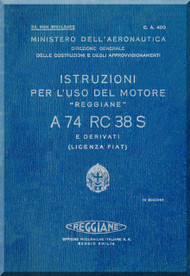 FIAT Motori  A.74 RC 38 S Aircraft Engine Instruction  Manual,    ( Italian Language )