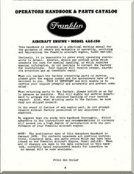 Franklin 4AC-150 Aircraft Engine  Operation Handbook & Parts Catalog  Manual  ( English Language )