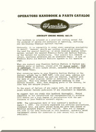 Franklin 4AC-176 Aircraft Engine  Operation Handbook & Parts Catalog  Manual  ( English Language )