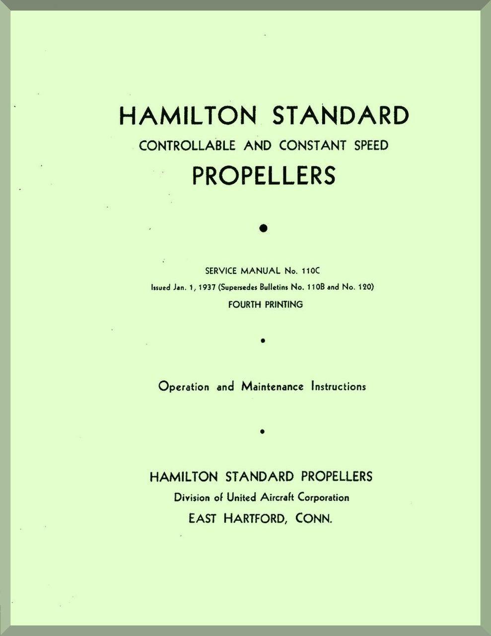Hamilton Standard Constant Speed Aircraft Propeller Service Manual - 110C.  Price: $14.85. Image 1