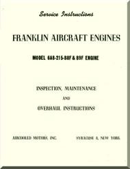 Franklin 6A8-215-B8F Aircraft Engine  Service Instruction   Manual  ( English Language )