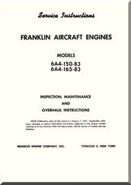 Franklin 6A4-150-B3  -6A4-165-B3  Aircraft Engine  Service Instruction   Manual  ( English Language )