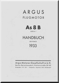 ARGUS  Flugmotor As 8 B   Aircraft Engine Handbook  Manual  ( German Language ) Handbuch -1933