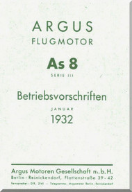 ARGUS  Flugmotor As 8 B   Aircraft Engine Technical Manual  ( German Language ) Betriebsvorschriften -1932