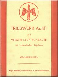 ARGUS  Flugmotor As 411   Aircraft Engine Hydraulic  Manual - As 411 TA-1 und TB-1 Beschreibung und VLS mit hydr. Regelung ( German Language )
