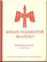 ARGUS  Flugmotor As410 A-1   Aircraft Engine Handbook  Manual  ( German Language ) Beschreibung