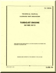 Continental J69-19T-25 Aircraft Turbo Jet Engine Illustrated Parts Breakdown Manual  ( English Language ) T.O. 2J-J69-44 , 1961