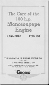 Le Rhone Gnome 9 Cylinder Type B2 Aircraft Manual