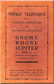 Rhone Gnome Jupiter Series VI Notice Technique ( French Language )