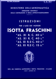Isotta Fraschini Asso XI R.C. 40  Aircraft Engine Technical  Manual,    ( Italian Language )