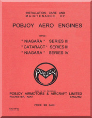 "Pobjoy "" Niagara ""  III "" Cataract "" III "" Niagara "" IV    Aircraft Engine  Operation, Installation and Maintenance Manual  ( English Language )"