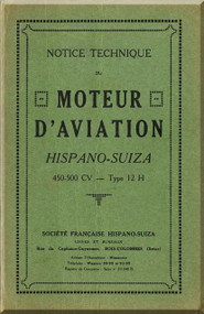 Hispano Suiza 12 H Aircraft Engine Maintenance Manual Instruction Book  ( French Language )