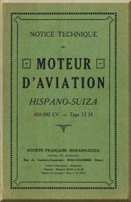 Hispano Suiza 12 H Aircraft Engine Maintenance Manual Instruction Book  ( French Language )
