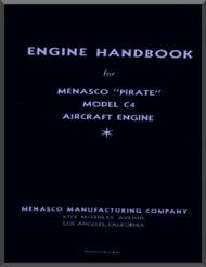 "Menasco C4 "" Pirate ""  Aircraft Engine Handbook  Manual  ( English Language )"