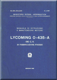 PIAGGIO  Lycoming O-435-A  Aircraft Engine Technical  Manual,    ( Italian Language )