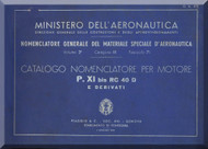 PIAGGIO  P XI RC 40 Aircraft Engine Parts Catalog  Manual,    ( Italian Language )