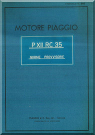PIAGGIO  P XII RC 35 Aircraft Engine Technical  Manual,    ( Italian Language )