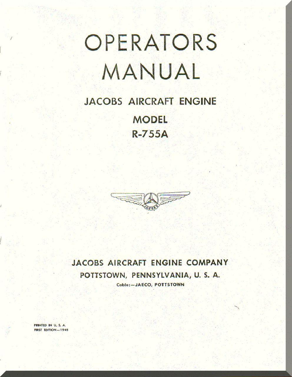 Jacobs R-755 A Aircraft Engine Operator Manual ( English Language )