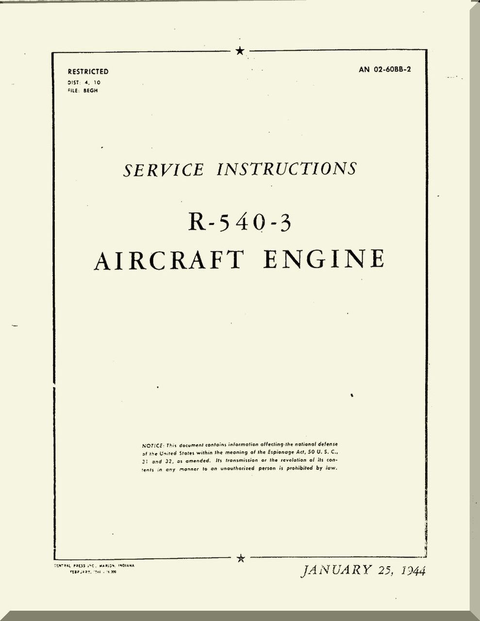 Kinner R 540 Aircraft Engine Service Instruction Manual English