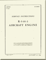 Kinner R-540 Aircraft Engine Service Instruction Manual  ( English Language )