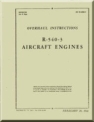 Kinner R-540 Aircraft Engine Overhaul Manual  ( English Language )
