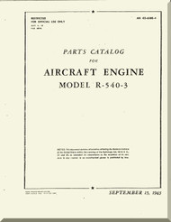 Kinner R-540 Aircraft Engine Parts Catalog Manual  ( English Language )